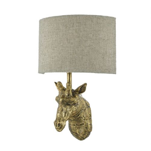 Sophie 1 Light Wall Light Giraffe Gold complete with Shade